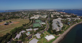 A Wide View Of The Coast Of San Diego. Tennis Court stock footage