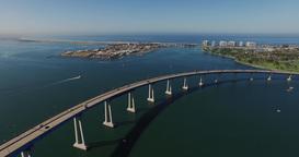 Aerial. Flying Over San Diego Coronado Bridge stock footage