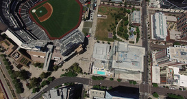 Aerial. Flying Over DownTown San Diego .Baseball Stadium stock footage
