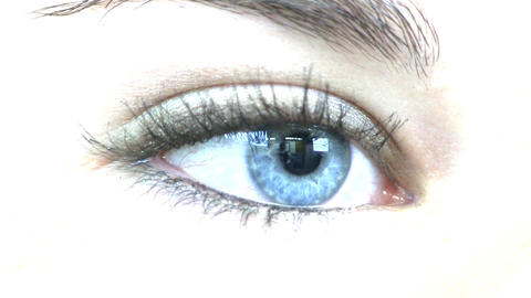 Teenage girl blue eye macro; RL Footage