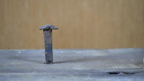 Hammer & vintage square nail; circa 1700's Footage