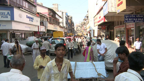 Indian Crowded Road In Crawford Market, Mumbai Footage