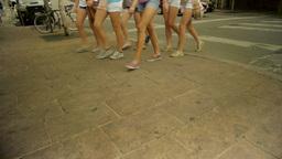 Legs of Females Walking Footage
