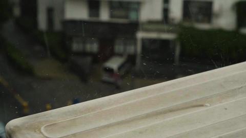 Rain Drops Splatter in Slow Motion Footage