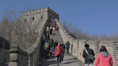 Great Wall of China Tourists in Slow Motion Filmmaterial