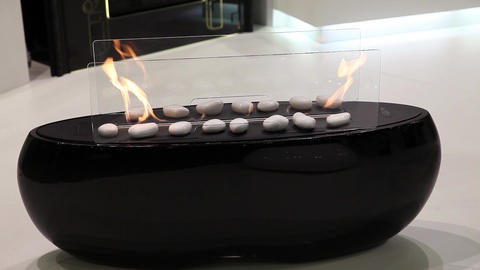 Modern artificial fireplace in living room interior Live Action