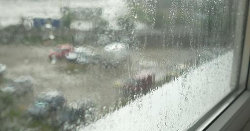 Raining on Window and Sill Footage