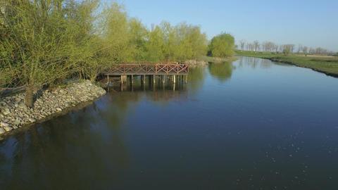 Drone Shot Of Pontoon Bridge stock footage