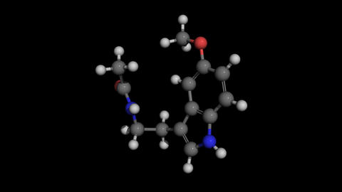 melatonin molecule model rotating Animation