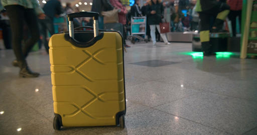 Yellow Trolley Bag in Airport or Railway Station Footage