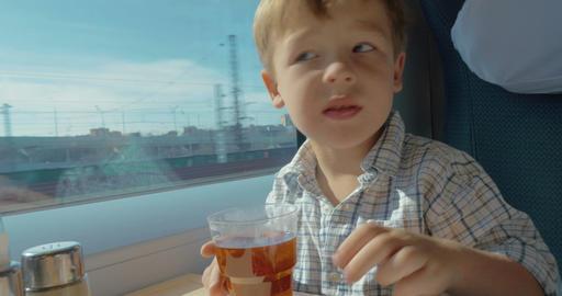 Little Boy Traveling by Train Footage