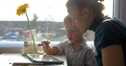 They Passing Time With Touch Pad In The Journey stock footage
