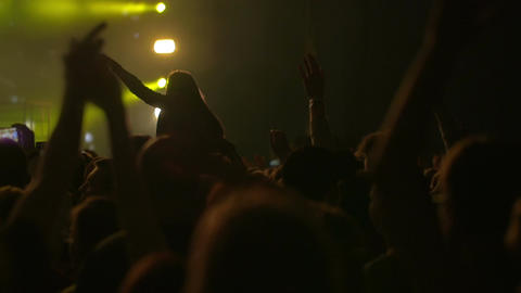 Viewers waving hand with favorite music Footage