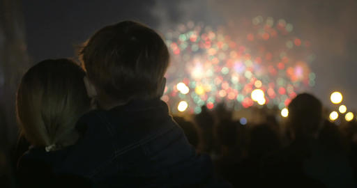 Mother and little son watching fireworks Footage