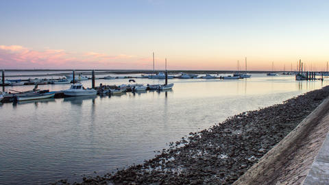 4 K Timelapse Sunset Olhao Recreational Marina Footage