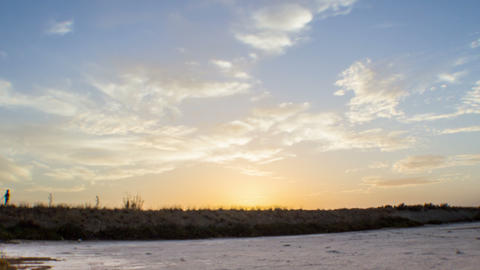 4 K Sunset Salt Marsh Timelapse at Ria Formosa Natural Park B 0 Footage