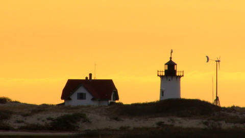 Race point lighthouse silhouette; 2 Footage