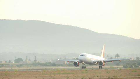 Commercial Airliner Landing at Majorca Airport Live Action