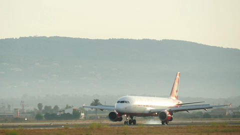 Commercial Airliner Flight Landing at Majorca Airport Footage