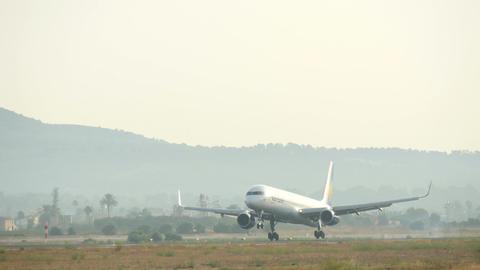 Jet Passenger Plane Landing at Majorca Airport Live Action