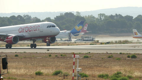 Airbus Airplane Taking Off at Majorca Airport Footage