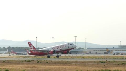 Passenger Airplane Taking Off at Majorca Airport 4k Footage