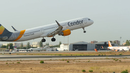Aircraft Taking Off at Majorca Airport 4k Footage