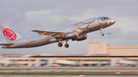 Airbus A320 Taking Off at Majorca Airport 4k Live Action