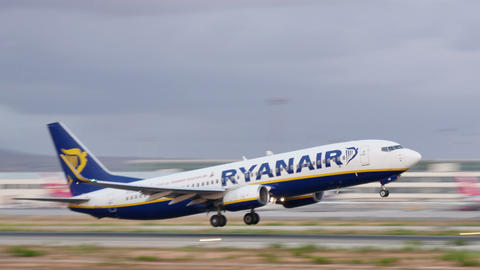 Boeing Airplane Taking Off at Majorca Airport 4k Footage