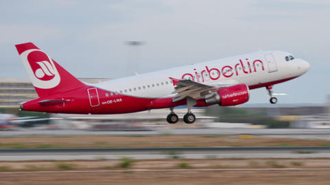 Airbus A319 Taking Off At Majorca Airport 4k stock footage