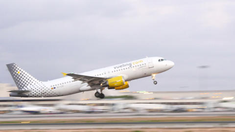 Commercial Airplane Taking Off at Majorca Airport Live Action
