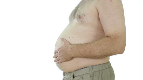 Obese Man Patting Fat Stomach, Side View stock footage
