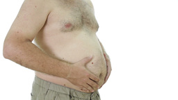 Obese man squeezing fat stomach Footage