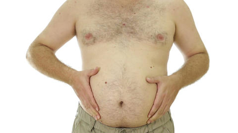 Obese man squeezing love handles 2 Footage