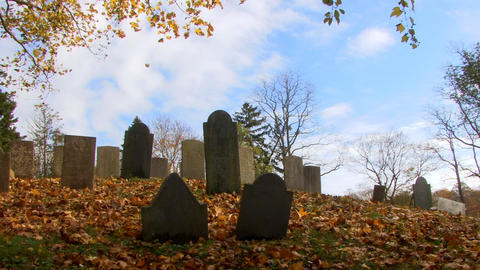Old Town Cemetery On Cape Cod 1 stock footage