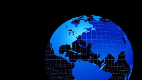 Earth Globe simple right alpha B 地球ブルー ループ 合成用B Animation