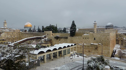 Jerusalem, Near Temple Mount In Snow stock footage