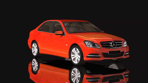Car Mercedes Benz Moving Rotation Orange Color Footage