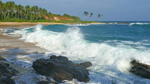 landscape with ocean waves and rocks Footage