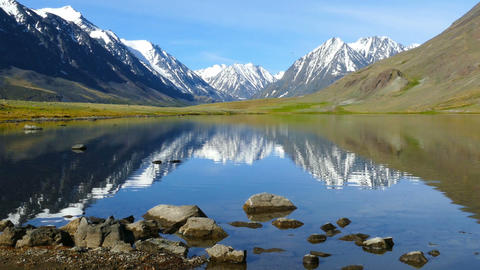 mountain landscape with lake in Altay, zoom in Footage