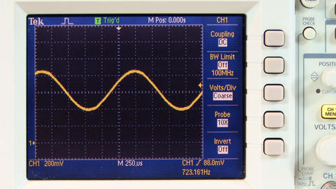Multi frequency sine wave on oscilloscope Footage