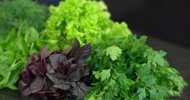 Colorful Set Of Green Salad On The Kitchen Table stock footage