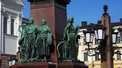 Detail of the monument to Alexander II in Helsinki. 4K Footage