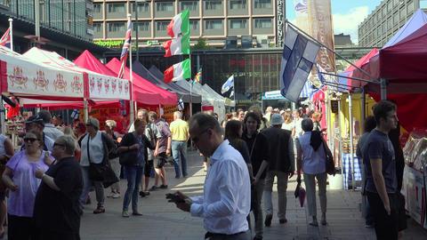 Market, trade on the street in Helsinki. 4K Footage
