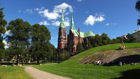 Temple of red brick in Helsinki. Finland. 4K Footage