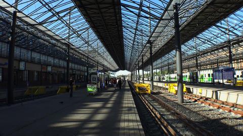 Platform railway station in Helsinki. 4K Footage