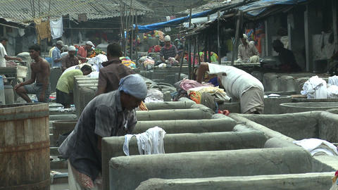 Indian Traditional Laundry (Dhobi Ghat) Footage