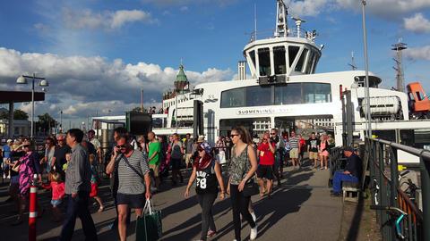 The harbor, the port in Helsinki. 4K Footage