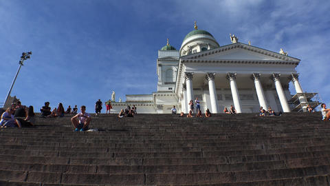 The Lutheran Cathedral on Senate Square, Helsinki. 4K Footage
