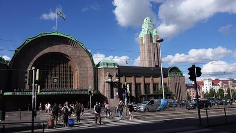 Railway station in Helsinki. 4K Footage